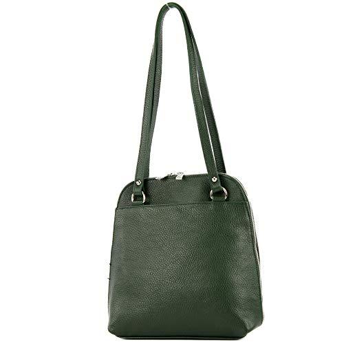 modamoda de - T217 - Zaino da donna in pelle, Verde (verde bottiglia), Small