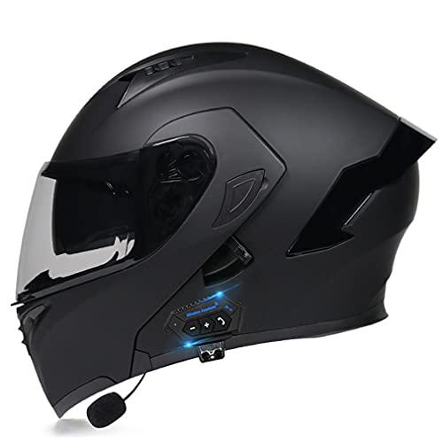 QXFJ Klapphelm mit Bluetooth, Motorradhelm Integrierter Bluetooth-Helm DOT/ECE Genehmigt Motorrad Full Face Helm Rollerhelm Anti-Fog-Doppelspiegel Sturzhelm Unisex Hellbraune Linsen