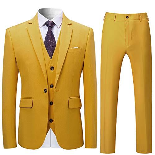 Allthemen Allthemen Herren Slim Fit 3 Teilig Anzug Modern Sakko für Business Hochzeit Party Gelb Large