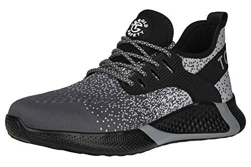 [tqgold] 安全靴 スニーカー 作業靴 軽量 あんぜん靴 メンズ レディース 通気性 鋼先芯 ケブラーミッドソール 耐摩耗 防刺 耐滑 ワークシューズ セーフティーシューズ (グレー 25.5cm)