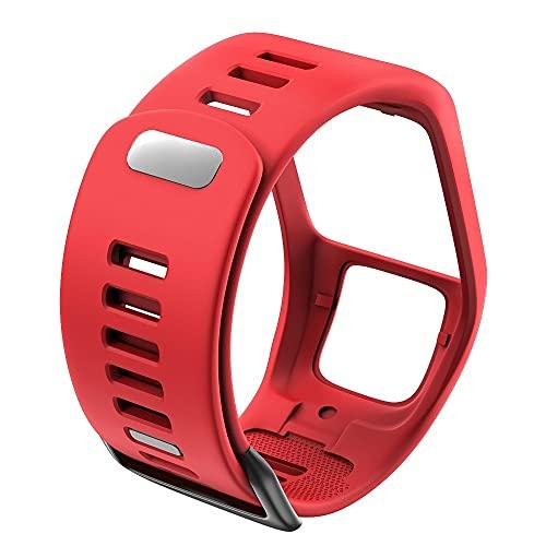 WWXFCA Silicona Reemplazo de Pulsera Reloj Correa para Tomtom Runner 2 3 Spark 3 GPS Reloj Deportivo para Tomtom 2 3 Series Soft Smart Band (Band Color : Red)