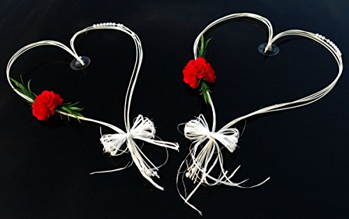ROMANTISCHE Herzen Autoschmuck Auto Schmuck Braut Paar Rose Deko Dekoration Hochzeit Car Auto Wedding Deko (Rot)