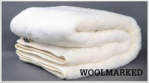 100% australischer Merinowolle Wende Matratzenauflage Cashmere Wolle Wärmeunterbett, Größe 140/200 cm Woolmark