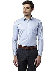 Park Avenue Blue Slim Fit Cotton Blend Shirt