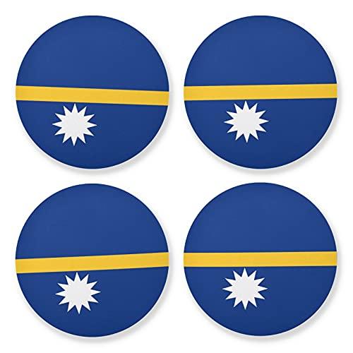 Juego de 4 posavasos redondos de madera de la bandera de Nauru, 4 piezas, posavasos para bebidas (10 cm)