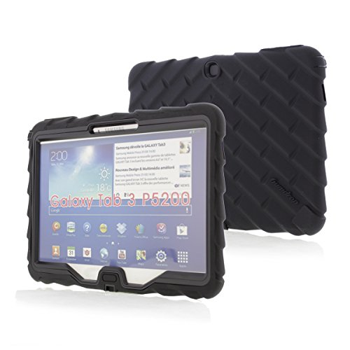 Samsung Galaxy Tab 3 (does not fit LITE) 10 inch (2013) Drop Tech Black Gumdrop Cases Silicone Rugged Shock Absorbing Protective Dual Layer Cover Case