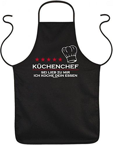 Grill und Koch Schürze - Küchenchef Sei lieb zu mir - bedruckter Baumwoll Kittel als Geschenk für lustige Griller Humor