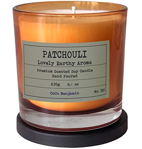 Soy Candle, Highly Scented, Hand Poured, 8.1 oz (Patchouli Lovely Earthy Aroma)
