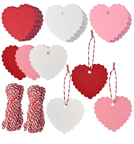 300pcs Paper Gift Tags Heart Shape Gift Tags Hang Tag Valentines Day Kraft Paper Tags Gift Tags with String for Valentines Day Wedding Mothers Day Thanksgiving Party DIY Wrapping (Red Pink White)