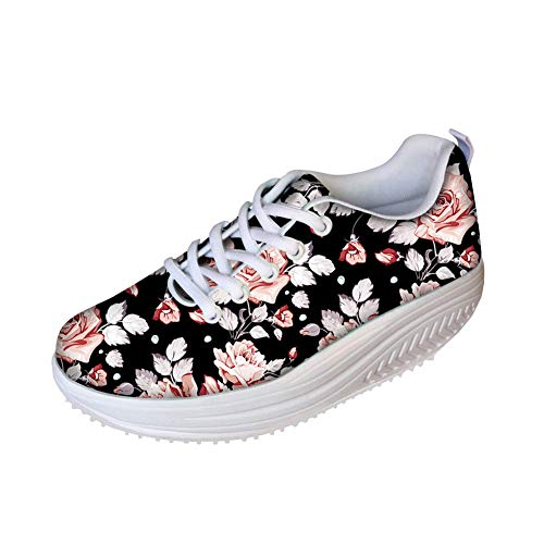 FOR U DESIGNS Sweet Stylish Rose Style Women's Breathable Comfort Platform Sneakers Shoes US 8