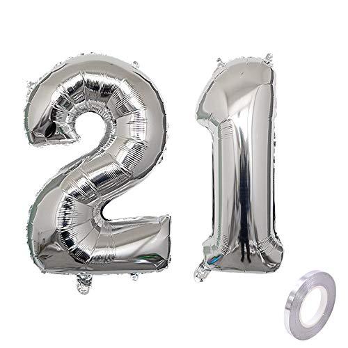 Globo de helio con número 21, plateado, número 21, para cumpleaños o fiestas, XL, 32 pulgadas, para decoración de cumpleaños