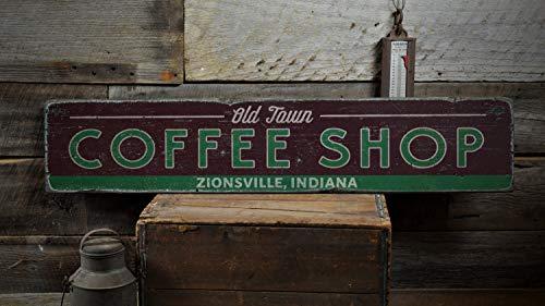 AntonioKe75 Old Town Coffee Shop 593 - Cartel de Madera Personalizable con Nombre de la Ciudad y el Estado de la Cocina, Hecho a Mano, 15,2 x 61 cm