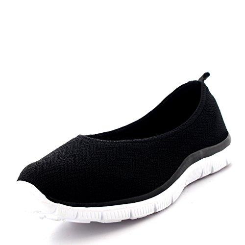 Mujer Bailarina Aptitud Yoga para Caminar Corriendo Deportes Gimnasio Ligero Malla Zapatillas - Negro/Blanco - UK3/EU36 - BS0108
