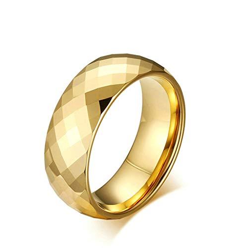 Daesar Anillo 1PC Anillo Hombre Anillo Compromiso Acero Inoxidable Carburo Superficie del Rombo Oro Sortijas Matrimonio para Hombre Anillo Talla 30