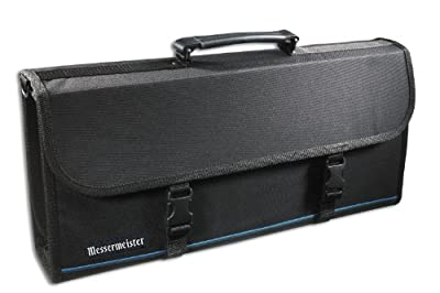 Messermeister 17-Pocket Knife Case with Large Storage Pocket, Luggage Grade and Water Resistant, Black by Messermeister