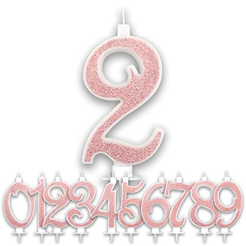 Candeline 2 Anni Grandi Compleanno Rosa Gold Glitter   Numeri brillanti per Torta Festa Birthday Bambina Ragazza Donna   Decorazioni Candele Topper Auguri Anniversario   Altezza 13 CM