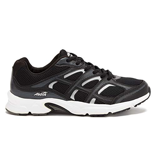 Avia Men's Avi-Forte Running Shoe, Black/Grey/Silver, 10.5