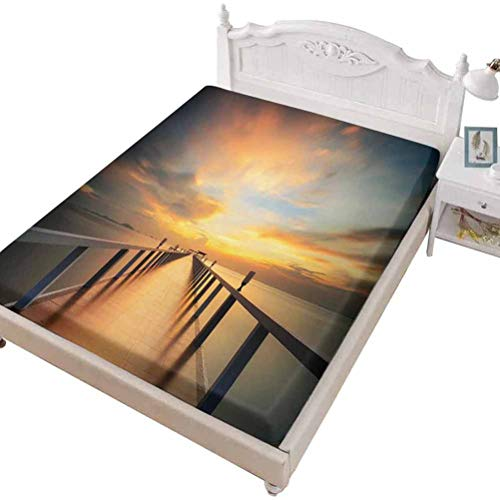 SoSung Twin Size Fitted Sheet 3D Printed with Art View Exotic,View from a Deck at Tropical Island with Exotic,Bed Cover with All-Round Elastic Deep Pocket for Comfort