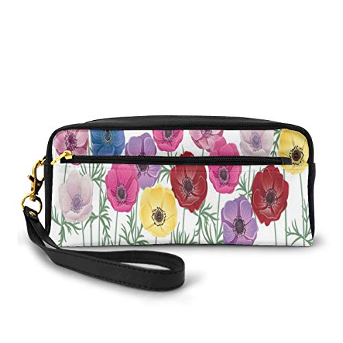 Pencil Case Pen Bag Pouch Stationary,Group of Graphic Colorful Flowers on Branches Blooming Field in Summer Theme,Small Makeup Bag Coin Purse
