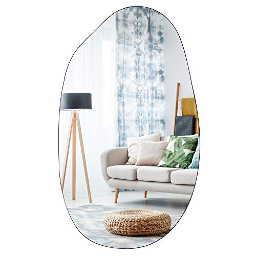 EDGEWOOD Asymmetrical Accent Wall Mounted Mirror Decorative Living Room Bedroom Entryway, 19.7 x 33.5 Inches