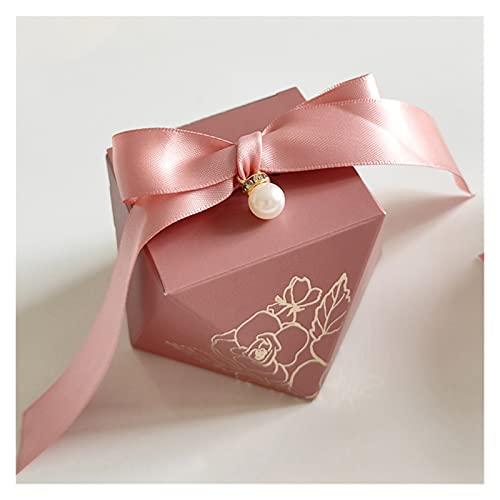 xczbb Caja de Regalo Caja de Regalo Forma de Papel Cajas de Caramelo Caja de envasado de Chocolate Favores de Boda para huéspedes Fiesta de cumpleaños (Color : Pink 1, Gift Bag Size : 50 PCS)