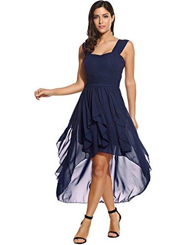 ACEVOG Damen Chiffon Kleid Abendkleid mit Saum Wickelkleid Sommerkleid Freizeitkleid Partykleid Chiffonkleid knielang (M, Dunkelblau)