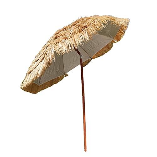 Parasol de jardín plegable, playa de paja parasol estilo hawaiano sombra sombra sombrilla sombrilla pp hierba raffia playa paraguas (sin base)
