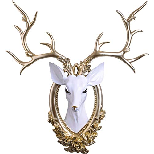 DAGCOT Stag Head Wall Mount Stag Head Wall Mount, Antlers Deer Head Wall Decor, Faux Deer Head Taxidermy Antlers Wall Hangings, Home Restaurant Bedroom Living Room Background Deer Ornament Wall Sculpt