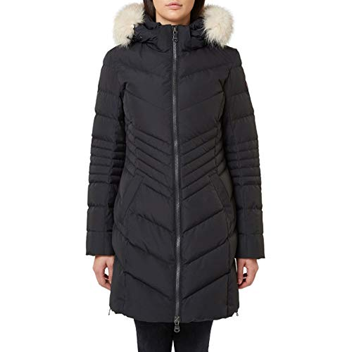 Pajar Women's Queens Chevron Duck Down Fur Trim Puffer Coat Black Size XS