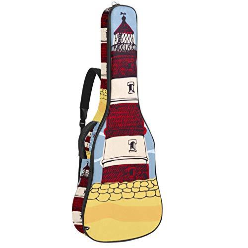 Gitarrentasche 41 Zoll Gitarrentasche Wasserdicht Oxford Tuch Gepolstert Dicker Schutz Akustische Gitarre Tasche mit Verstellbaren Doppel Schultergurten Blau Seagull Leuchtturm