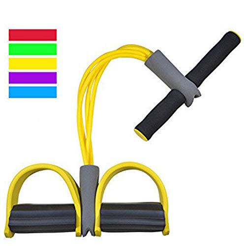Maram 4 Tubes Fitness Sit-up Pull Rope Bodybuilding Tension Rope, Elastic Pull Rope Fitness Equipment for Abdomen, Waist, Arm, Yoga Stretching Slimming Training (Yellow)