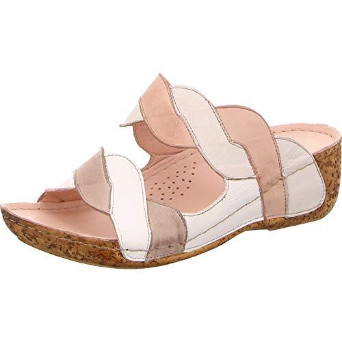 Gemini 032228-02 Damen Schuhe Pantoletten Clogs Leder Multicolor, Schuhgröße:39 EU, Farbe:Weiß