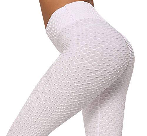 heekpek Leggings largos para mujer, cintura alta, yoga, fitness, spandex, gimnasio, pantalones deportivos, leggings para mujer, algodón elástico blanco S