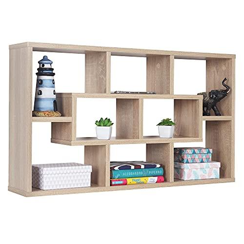 RICOO WM050-ES Estantería Pared 85x48x16cm Estante Colgante Librería Flotante Mueble almacenaje Almacenamiento Libros Madera Roble marrón