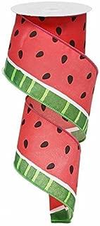 Watermelon Print Summer Picnic Ribbon : Pink Green Black White 2.5 Inches X 10 Yards : RG0122127