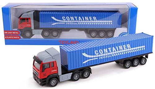 TOYLAND® Camión de Juguete y Remolque de 28 cm - Diecast - Modelos de Juguetes y vehículos - Diseños Variados (Camión contenedor)