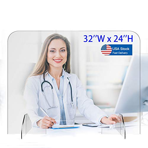 Sneeze Guard -Homesuit 32' x 24' Plexiglass Protective Freestanding Shield,Plexiglass Screen with Transaction Window for Desk and Counter,Offices and Stores,Business and Customer Safety