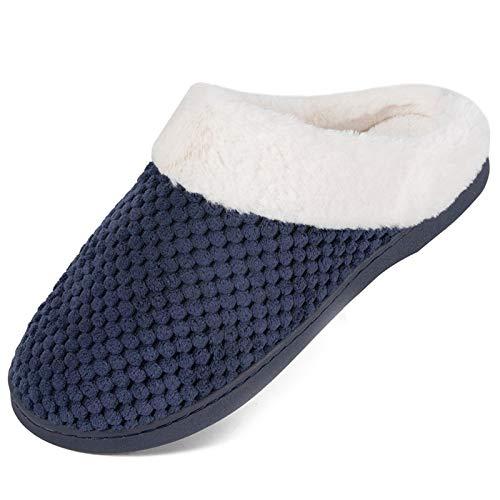 Herren Damen Winter Hausschuhe Memory Foam Wärme Bequem Plüsch Pantoffeln Home rutschfeste Slippers Schuhe Indoor Outdoor(xmt.Königsblau,38/39 EU)