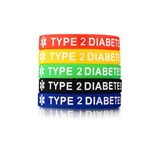 Chien 5 Pack Assorted Colors Medical Alert Type 1/2 Diabetes Silicone Bracelets Wristband for Men Women,7.5' (Type 2 Diabetes)