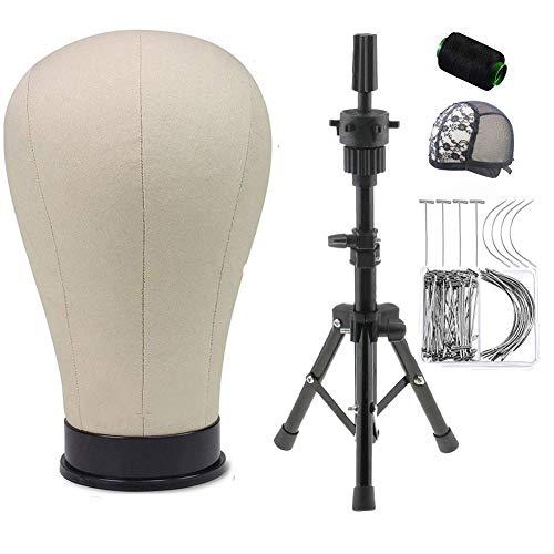 Segeltuch Perückenkopf Modellkopf Mannequin Kopf mit Mini Verstellbarer Stativ, 50 T-Pins, 20 C-Nadeln, 1 Spitze-Perückenkappe und 1 Rollenfaden (22inch, Beige)