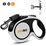 Petacc Retractable Dog Lead, Anti-bite Heavy Retractable Dog Leash 360° Tangle Free,Reflective 5m Strong Nylon Tape,One-Handed Brake, Pause, Lock