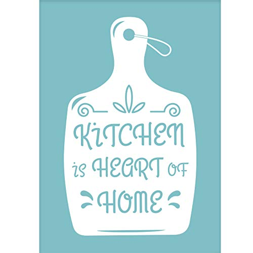 OLYCRAFT - Plantilla Autoadhesiva para Serigrafía, Kitchen Is Heart of Home', Plantilla para Carteles, Plantillas Reutilizables para Pintar sobre Tela de Madera, Camisetas, Decoración