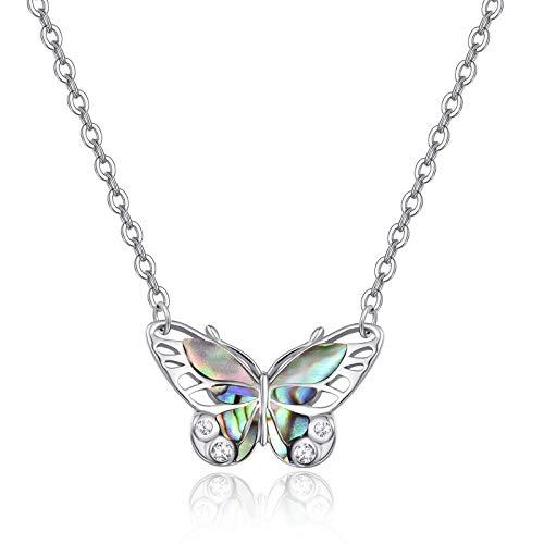 PRAYMOS - Collar de plata de ley 925, diseño de mariposas, para mujer, diseño de concha de abulón, joyería estética de Navidad, cumpleaños, cadena de plata de 45,7 cm y extensor ajustable de 5,08 cm