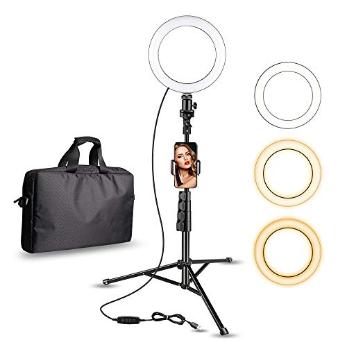 Aureday 8' Selfie Ring Light with Cell Phone Holder, LED Lightning Tripod Stand with Carry Bag for Makeup & YouTube Stream, Compatible with iPhone & Android Phone