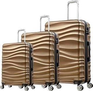 حقيبة سفر بعجلات من ار اند اف مكونة من 3 قطع - لون بني - RF-001