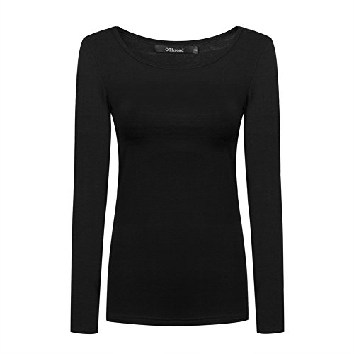 OThread & Co. Women's Long Sleeve T-Shirt Scoop Neck Basic Layer Spandex Shirts (Medium, Black)