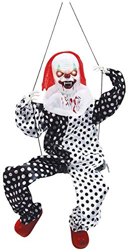 Large Lighted Kicking Clown on Swing Scary Halloween Decoration Party Supply