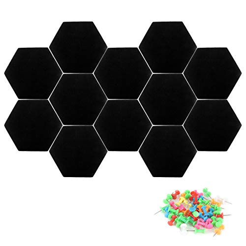 """12 Pack Black Hexagon Felt Corks Board 7.8""""x6.8"""" Hexagon Tile Bulletin Board for stick daily reminders, notice board, pinning stuff to holds push pins, Notes,Pictures,Photos,Memo, Office and HomeDecor"""