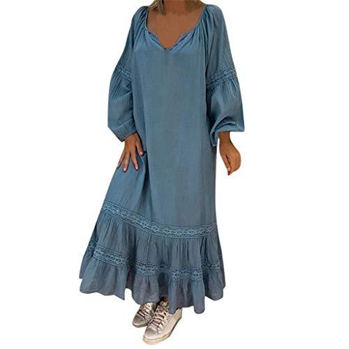 Reooly Vestido de Verano Vestido de Moda para Mujer con Estampado sin Mangas Vestido Largo Suelto con Dobladillo en V para Mujer