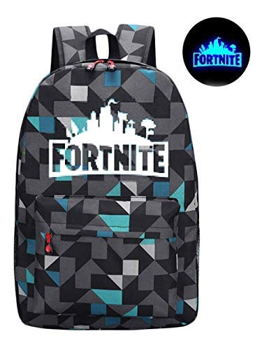Fort Battle Royale Backpack, Luminous Kids School Bag Plaid Gray Black